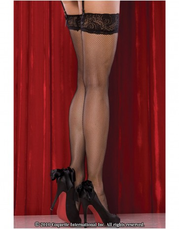 Coquette Black Fishnet stockings with Lace Top