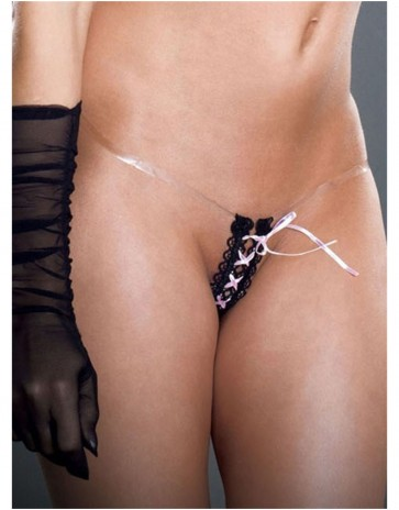 Extremely Thin Fearless & Fun Little Lace up Tiny Tight Thong 003