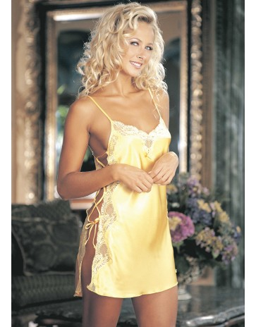Shirley of Hollywood Yellow Chemise with Lace