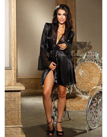 Silky Black Robe 20567 By Shirley of Hollywood