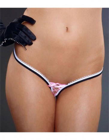 Lace Up Two Tone Thong Panties by Fearless & Fun