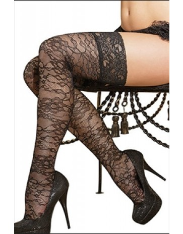 Coquette Black Floral Stockings