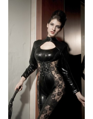 Black Vinyl Bodysuit