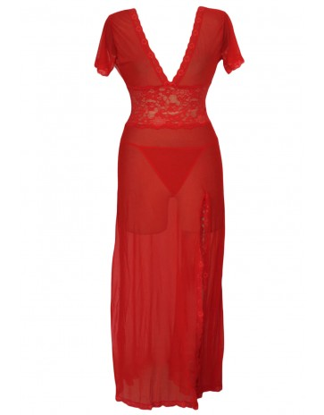Red V Neck Gown