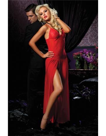 Seven 'til Midnight Floor Length Stretch Mesh Red Gown