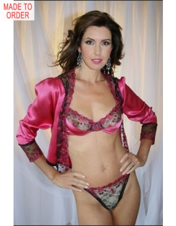 f0e70a5ee9b thong back teddy in fuchsia pink silk christelle by diki lingerie ...