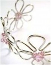 Silver Coloured Bangle - Pink Stones