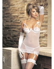 Strappy White Lace Chemise By Shirley of Hollywood