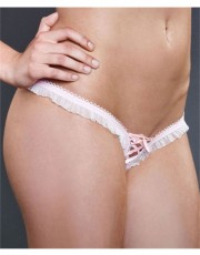 Ruffle Mesh Lace-Up Crotchless Thong Panties by Fearless & Fun