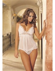 Shirley of Hollywood Snowflakes Pattern White Babydoll