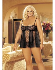 Shirley of Hollywood Black Stretch Lace Plus Size Babydoll