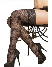 Black Floral Stockings with Lace Top