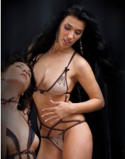 Nude Tulle Embroidered Body Chastity D051
