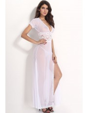 White V Neck Gown
