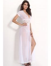 White V Neck Gown