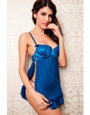 Blue Embellished Glittery Babydoll Set