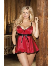 Shirley of Hollywood Plus Size Red Tuxedo Charmeuse Baby Doll